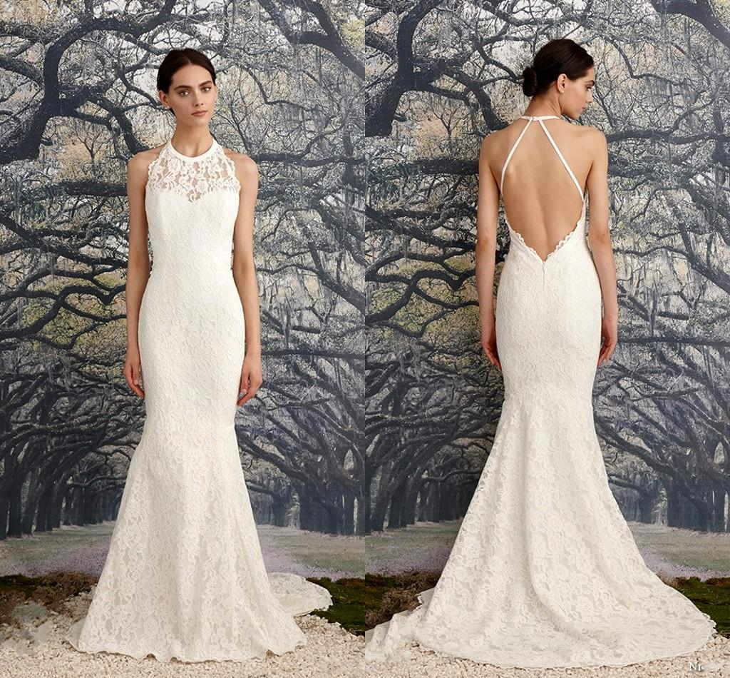 Ivory Halter Wedding Dresses Open Back Sleeveless Open Back Mermaid ...