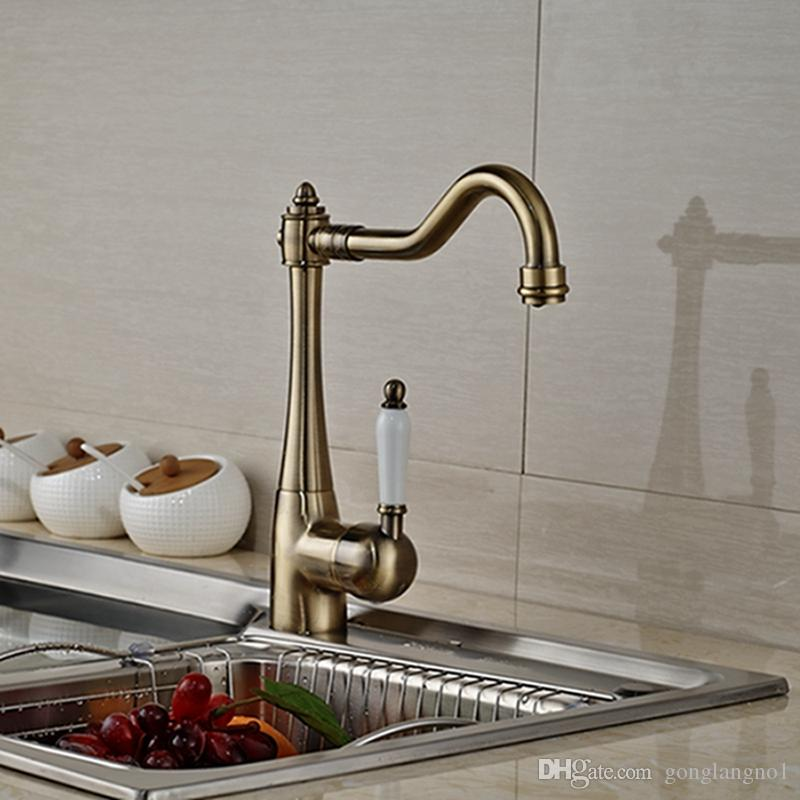 Wholesale And Retail Promotion Deck Mounted Kitchen Faucet Antique Bronze Vessel Sink Mixer Tap Ceramic Handles Hot And Cold Tap