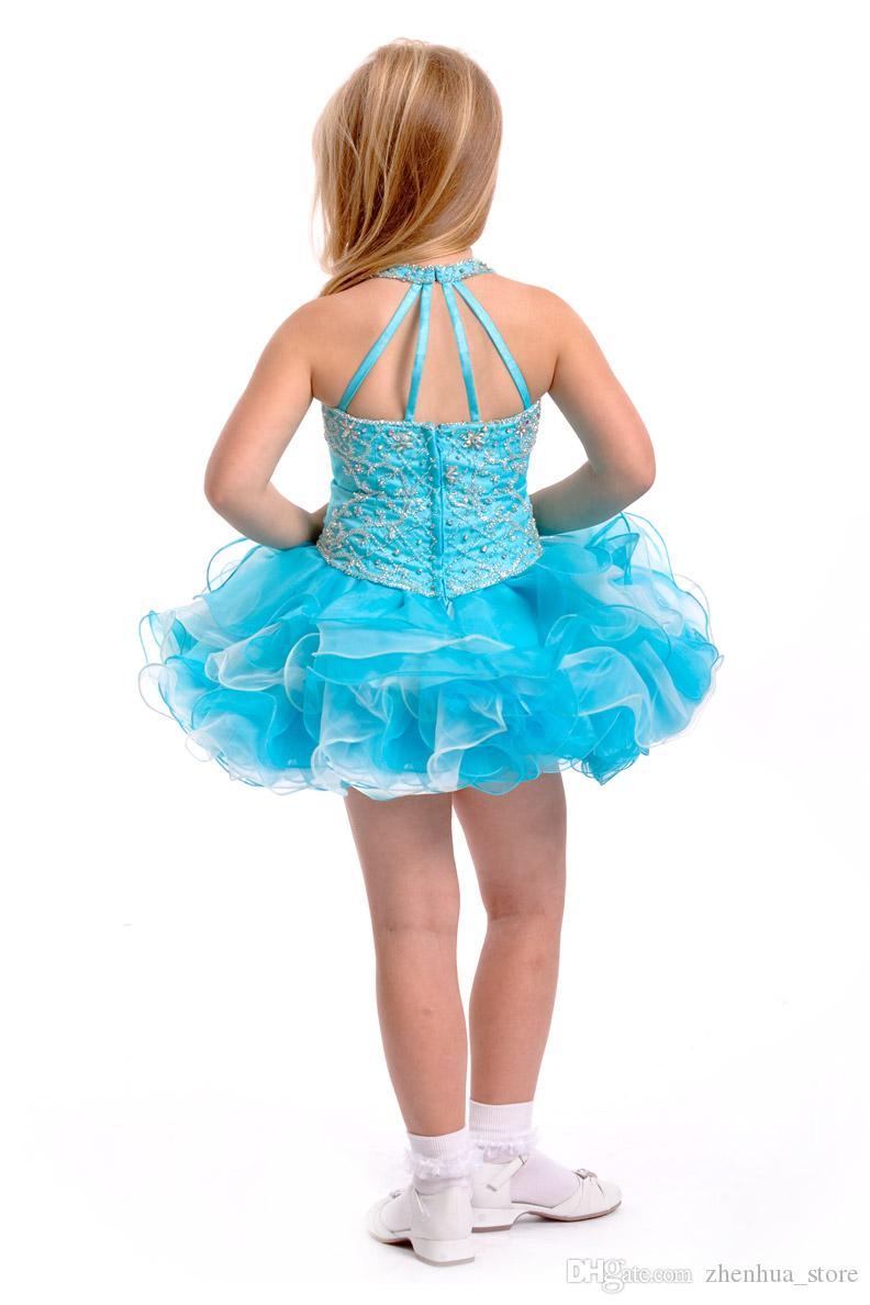Sequins Blue Ball Gown Short Mini Cupcake Girls Pageant Dresses Infant Toddler Birthday Party Dresses Above Knee Birthday Party Dresses