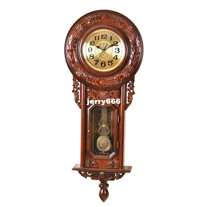 Annabel Upscale King Wood Carved Wooden Antique Wall Clock Luxury