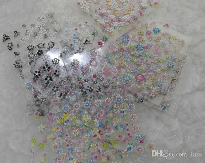 2016 Nueva 50 Hoja 3D Mix Color Diseño Floral Nail Art Stickers Calcomanías Manicura Hermosa Accesorios de Moda Decoración Envío Gratis
