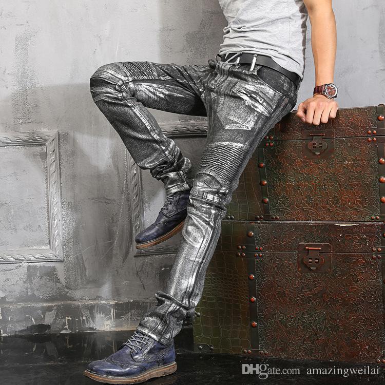 2017 98 cotton plus size men silver jeans mens pants heavy metallic rock skinny coated men. Black Bedroom Furniture Sets. Home Design Ideas