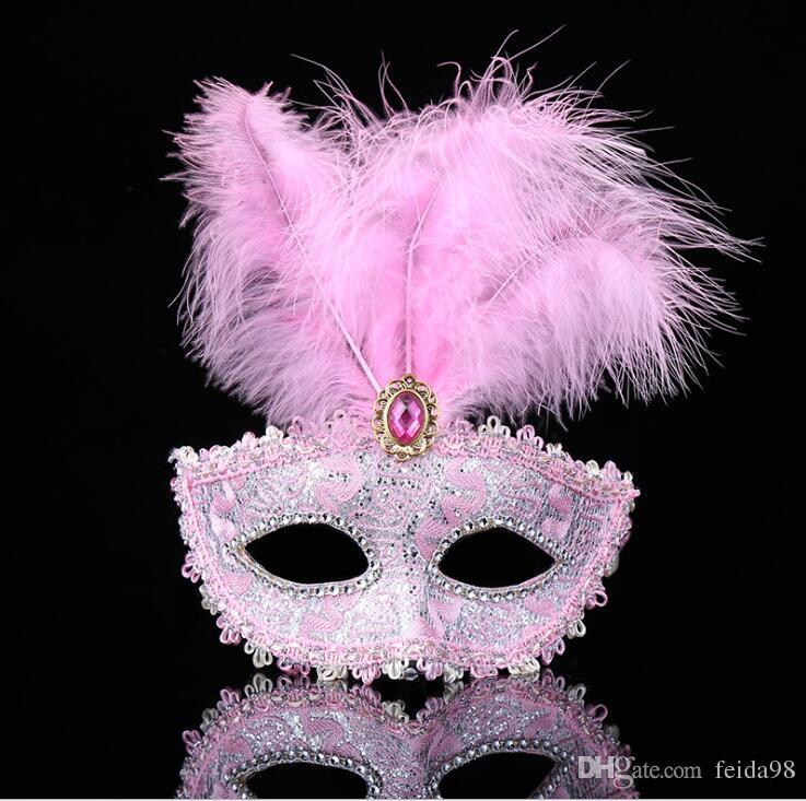 Maskfjädrar Bröllopsfest Masker Masquerade Mask Venetian Mask Kvinnor Lady Sexy Masks Karneval Mardi Gras Kostym G1171