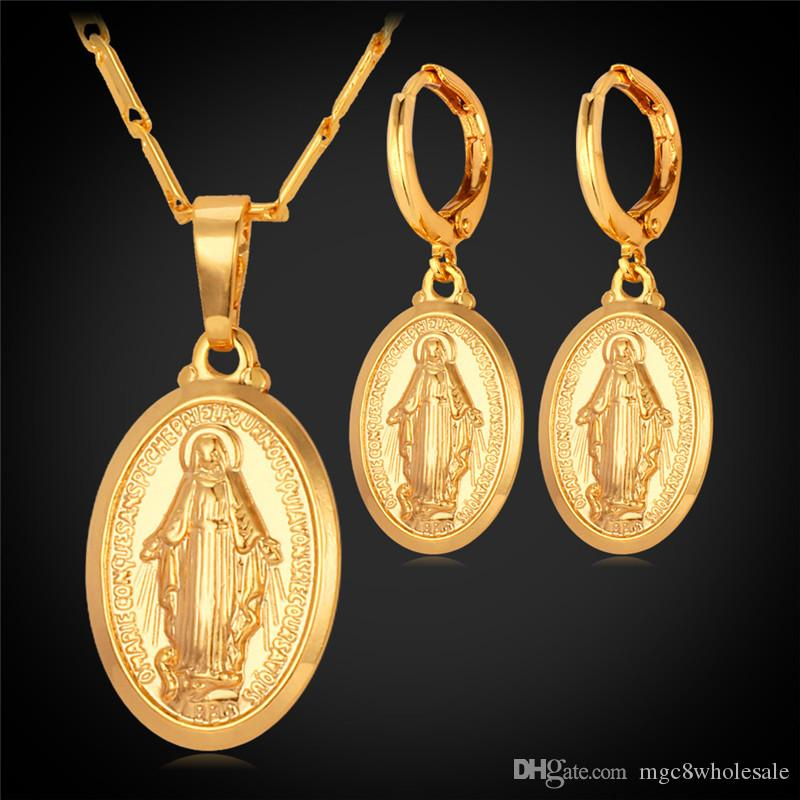 U7 Virgin Mary Necklace Earrings Set Trendy Platinum/18K Gold/Rose Gold Plated Pendants Religious Jewelry Sets For Women Cross Accessories