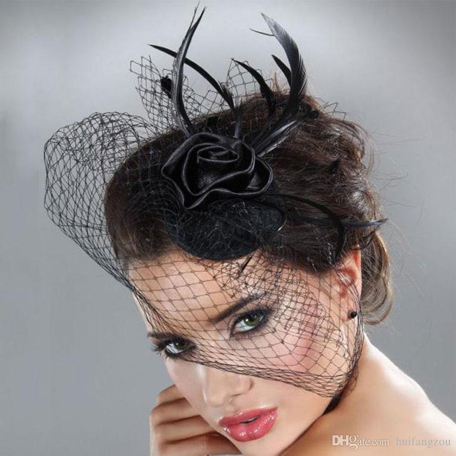 2018 caliente barato nupcial velo accesorios blanco negro plumas sombrero clip accesorios para la fiesta de navidad vestidos de novia desgaste del cabello p-75