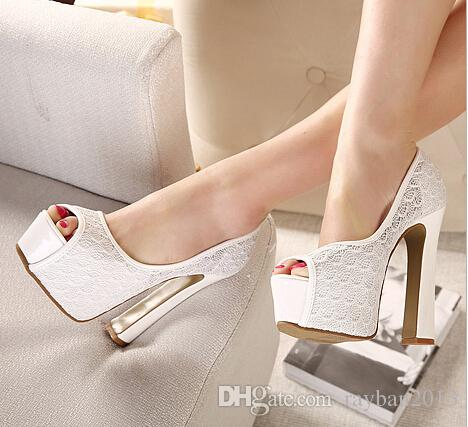 Sexy Lace White Heels Wedding Shoes Thick Shoes Platform High Heel Pumps  Cut Outs Blue Heels Womens High Heels Size 34 To 39 Canada 2019 From  Rayban2013