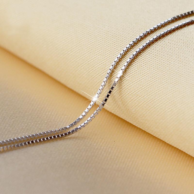 Precio más bajo 925 Sterling Silver Box Cadena Collares Joyería de Calidad SUPERIOR 1mm 2.6g 18 pulgadas 925 Cadenas de Plata Esterlina 100 unids joyería de moda