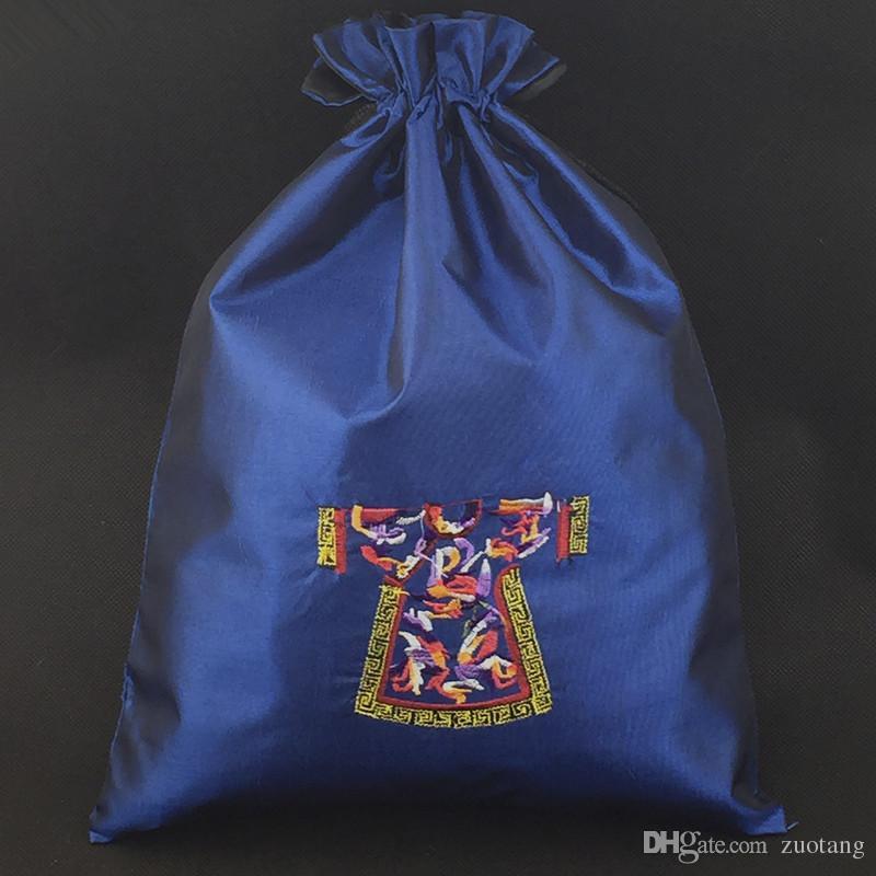 Bordado retro Ropa Zapato Bolsa de viaje Cordón Bolsa de almacenamiento Tela Portátil Cubierta de polvo Bolsa con forrado