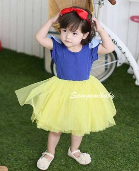 eaa22c34572 2019 Snow White Tutu Dress Princess Cosplay Costumes Birthday Party Dresses  For Baby Girls Cotton Short Sleeve Dress In Stock From The one