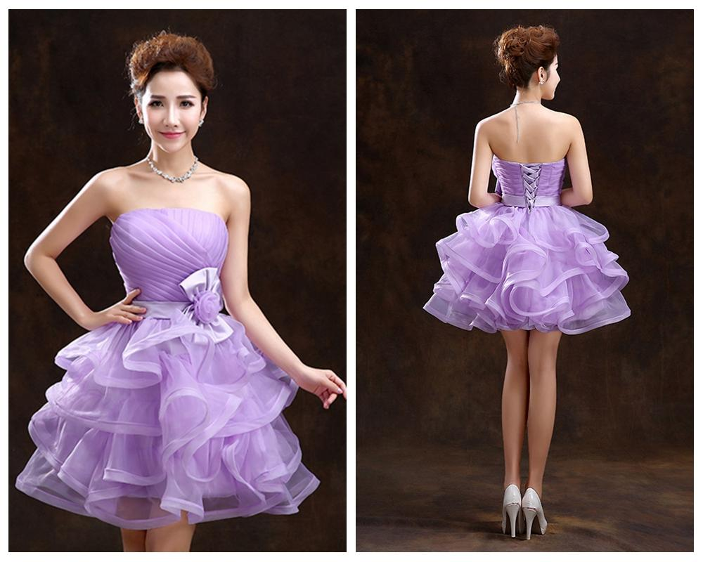 Back To School Short Prom Dresses Big Bow Lace Up Cocktail Party Ball Gown A Line Strapless ...