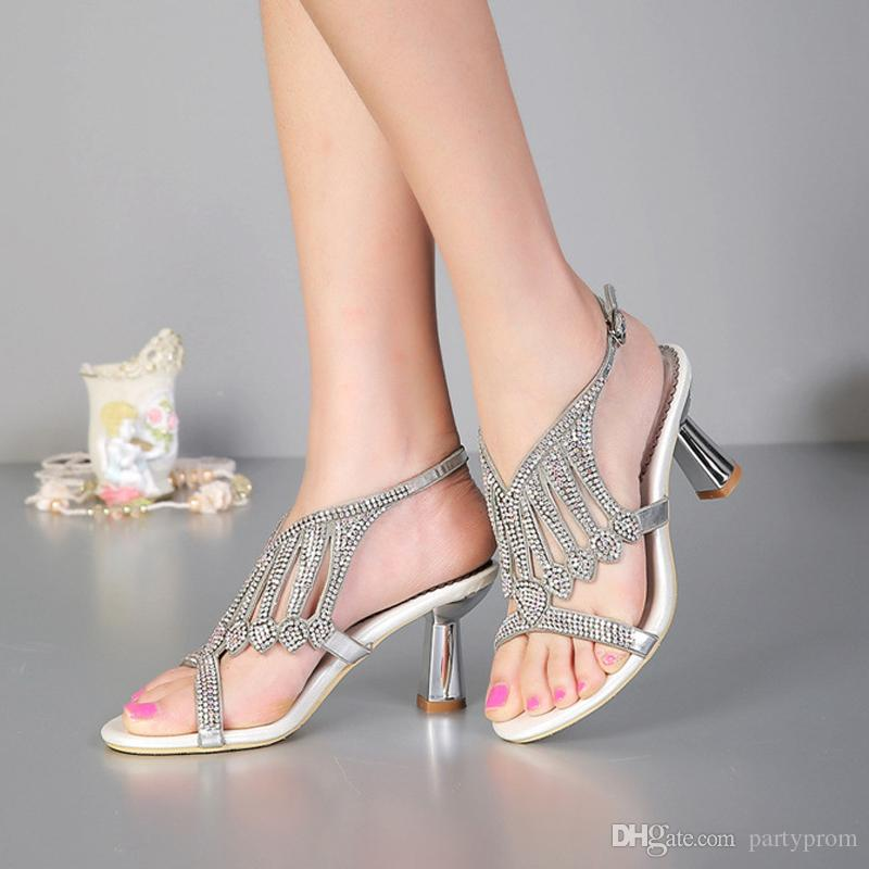 Summer Sandals Newest Design Bridal Shoes Fashion Chunky Heel Rhinestone High Heel Wedding Shoes Black Silver Plus Size 34-43