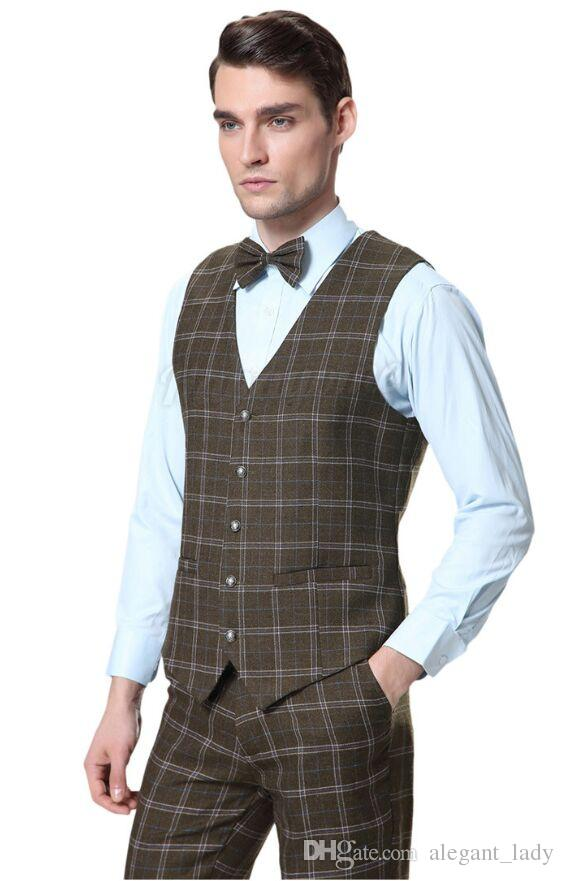 New Formal Suit Vest Men Wool Green Plaid Waistcoats Men's Slim Fit Wedding Tweed Dress Vests Four Button Pants+Vest