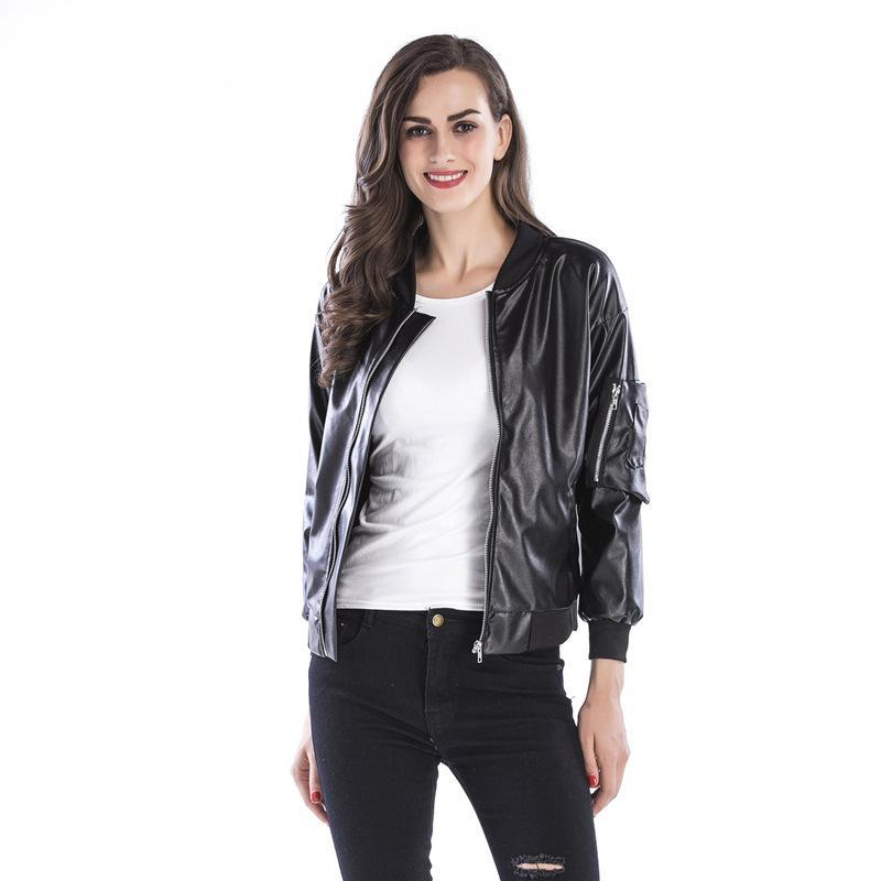 2019 2017 Faux Leather Jackets For Women Designer Jacket Leather Autumn  Soft Coat Slim Black Zipper Motorcycle Jackets Plus Size Women Clothing  From ... a0c6d5477