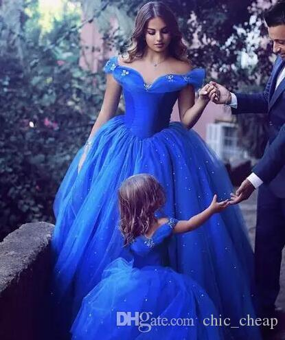 Floor Length Ball Gown Off Shoulder Crystal Butterfly Royal Blue Mother & Duahter Evening Dresses A Set Custom Made Outfits