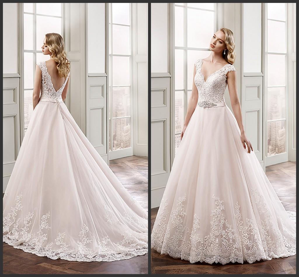 Discount Eddy K A Line Wedding Dresses Sweetheart Sleeveless 2016 Champagne V Neck Cap Sleeves Crystal Beaded Belt Lace Bridal Gowns Kr Court Train Designer