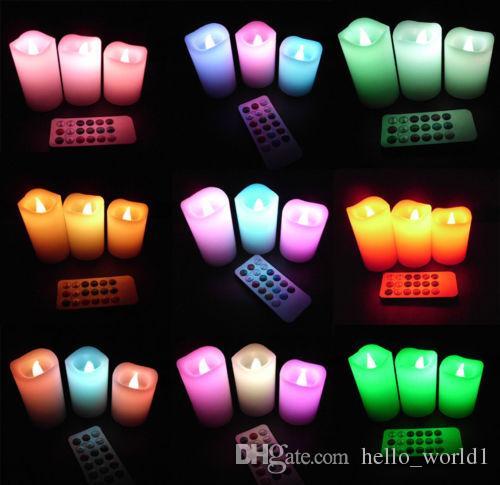 Telecomando senza fiamma di candele luminose a cambiamento di colore Set di candele romantiche 7.5 / 12 / 15CM # Candle-
