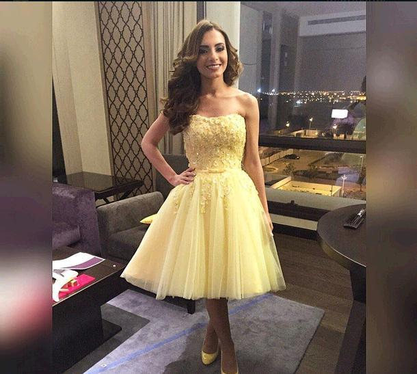 Short Tulle Prom Dresses Light Yellow Strapless Formal Gowns With ...