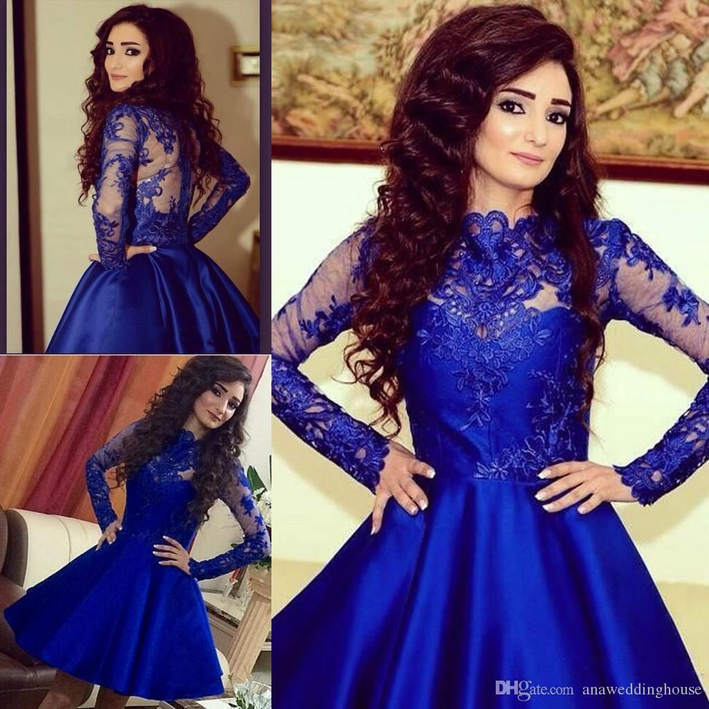 3d7a5f7f788 Long Sleeve Homecoming Dresses Sheer Neck A Line Crew Short Party Dress  Arabric Dubai Royal Blue Prom Gowns With Applique Lace Cheap Homecoming  Dresses For ...