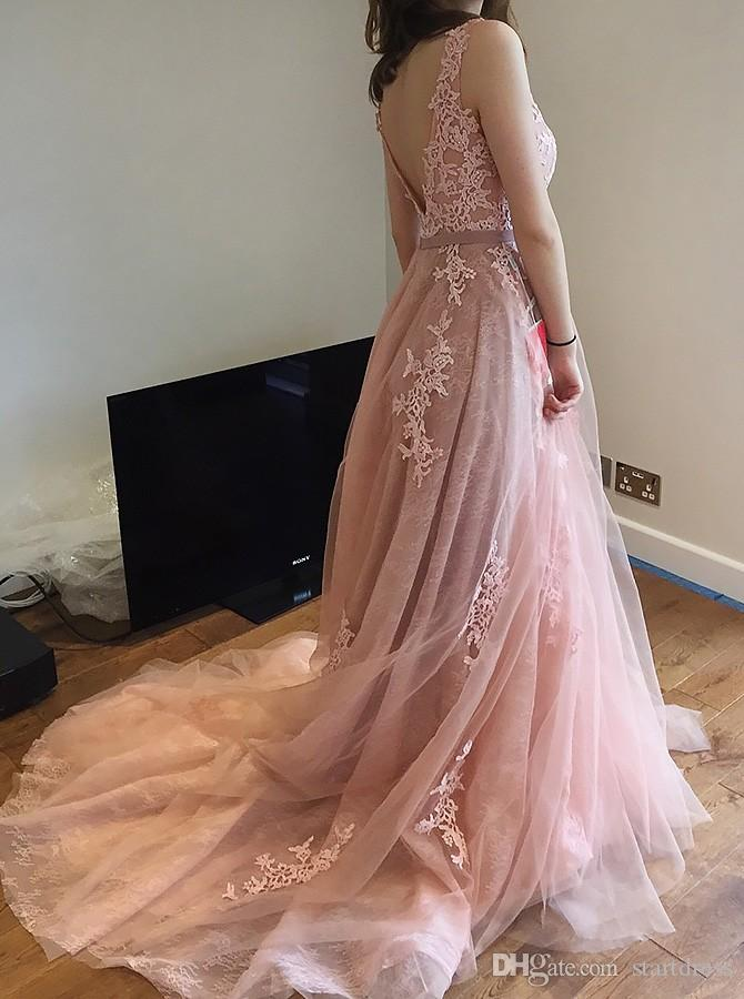 Real Image Pink Lace Prom Dresses Sexy Backless Dresses Evening Wear Formal Evening Dress Long Appliques Floral Vestidos Formales De Noche