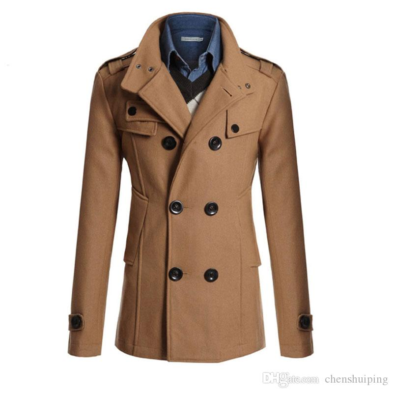 Venta caliente Nuevo Para Hombre Chaqueta de Abrigo Doble de Pecho Sólido Slim Fit Coat Casual Trench Prendas de Vestir Exteriores Para Hombres