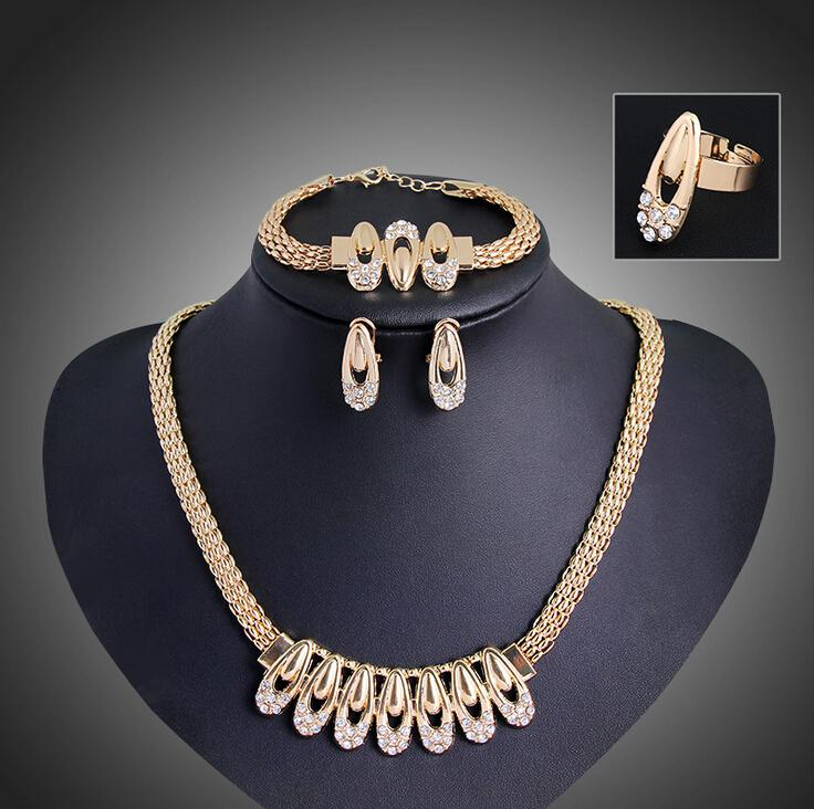 Gold Plated Silver Necklace Set 290 00: 2019 Fashion Wedding Bridal Gold Plated Rhinestone Jewelry