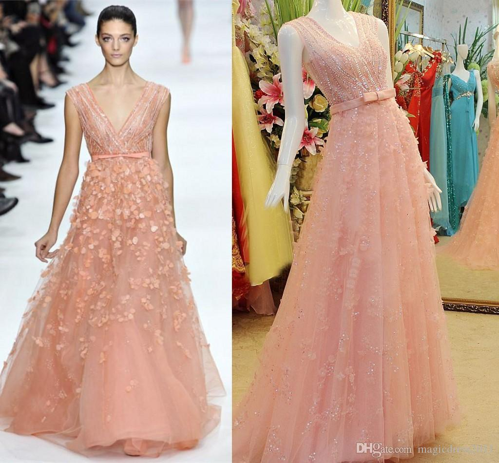Crystal Evening Gowns Elie Saab 2015 Couture Beaded Prom Dresses A