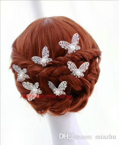 Kristal Rhinestone Yapay Inci Kelebek Çiçek Saç Pin Klipler Tokalar Kadınlar Saç Düğün Takı Gümüş