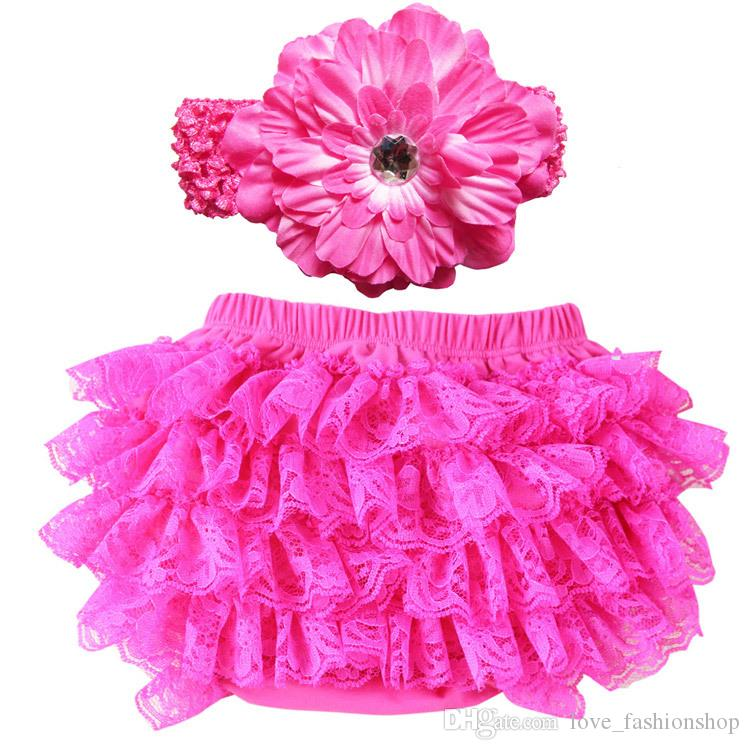 Baby Girls lace Ruffle Bloomer Headband Set TUTU underwear+ flowear Headwear Infant cake bloomers shorts pants diaper covers