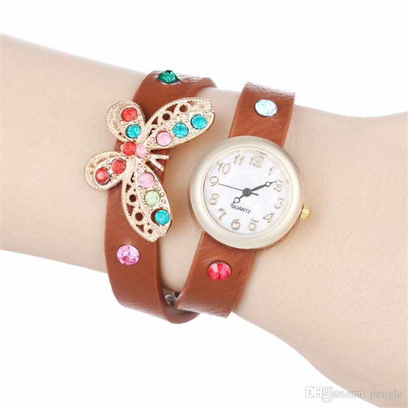 Moda Butterfly Wrap Kobiety Zegarki Lady Skórzane Wrist Zegarki Kolorowe Diamenty PU Band Round Dial Uroczy Bransoletki Zegarki