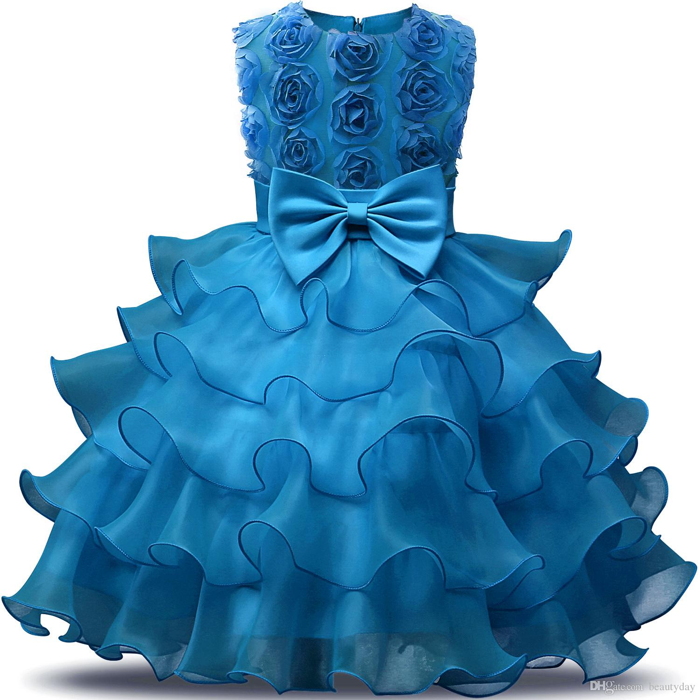 2020 Vintage Güzel Fildişi Bebek Bebek Yürüyor Vaftiz Giysi Çiçek Kız Elbise Ile Dantel Yay Tutu Balo Stockcheap