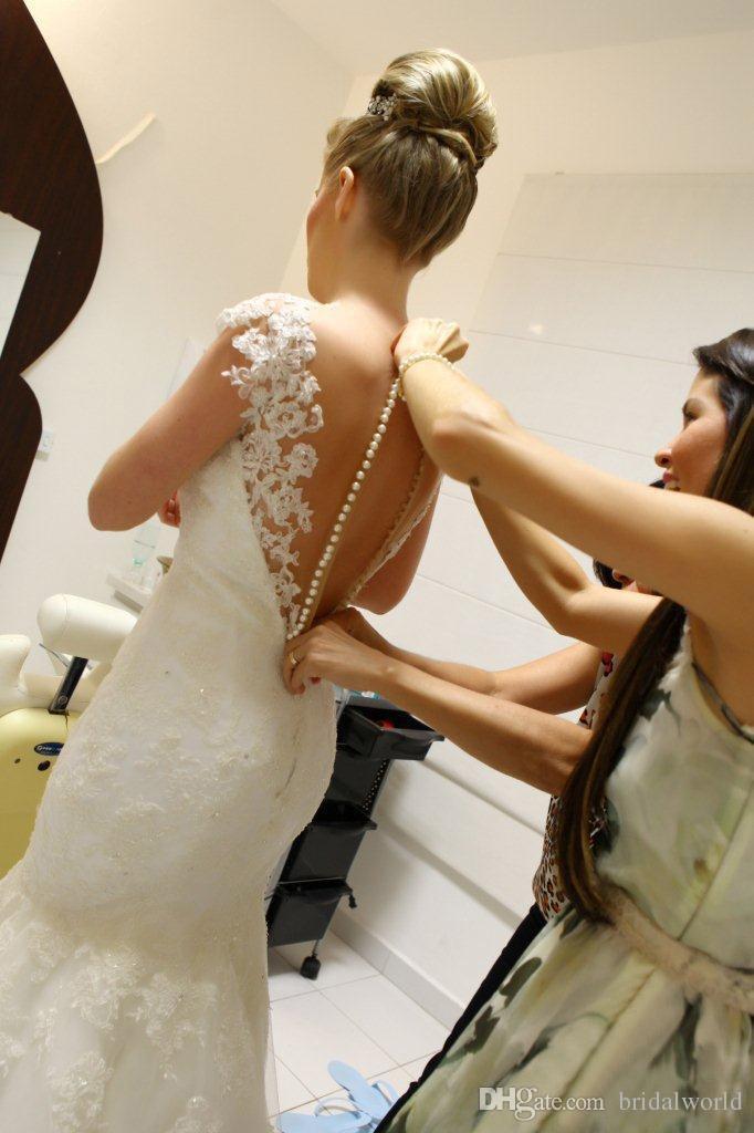 Пользовательские 2015 свадебные свадебные платья с иллюзией Jewel шеи Cap рукава Русалка Sheer покрыты кнопки блестками развертки поезд свадебные платья
