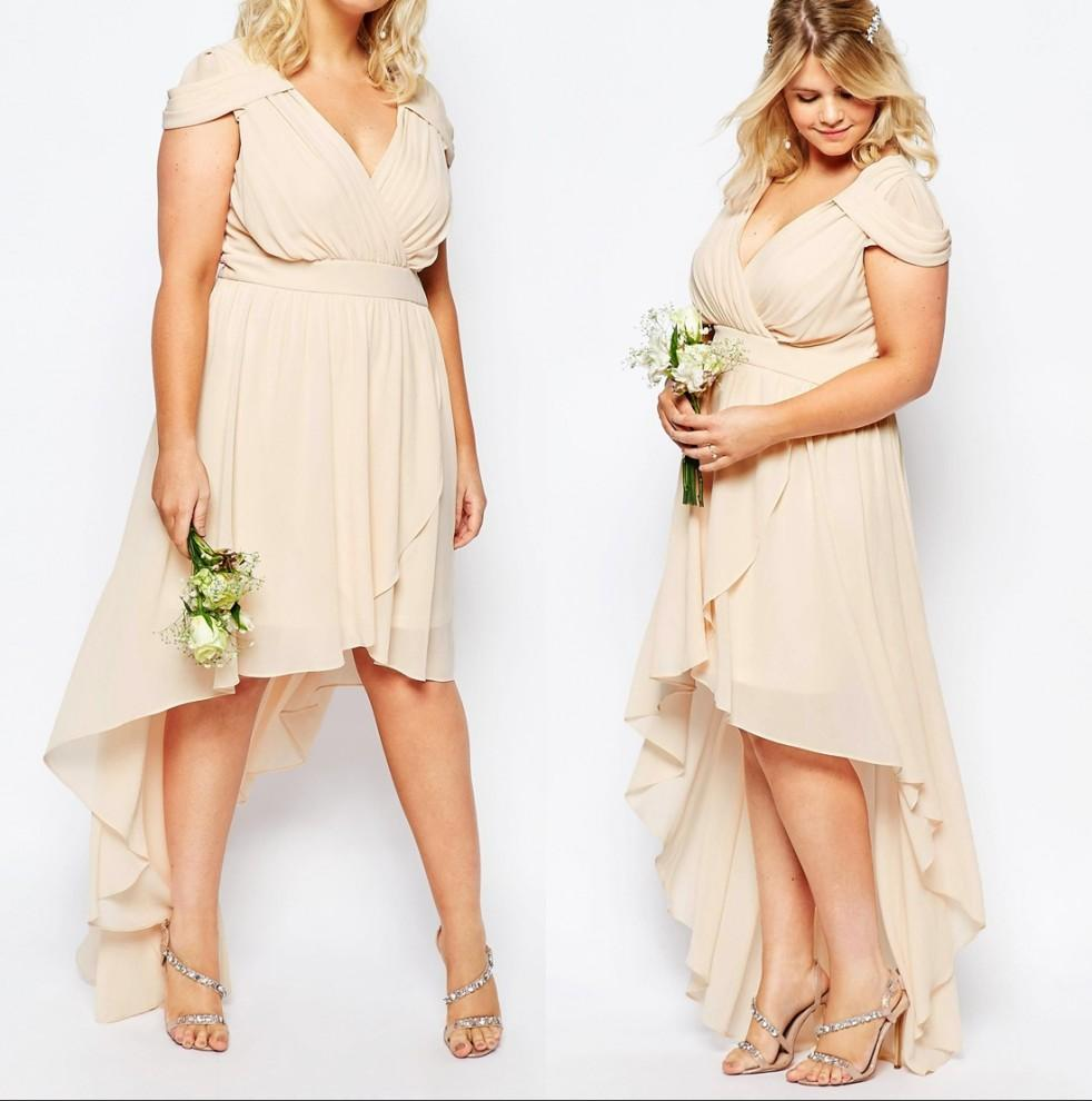 Plus size high low bridesmaids dresses 2016 boho country wedding see larger image ombrellifo Gallery