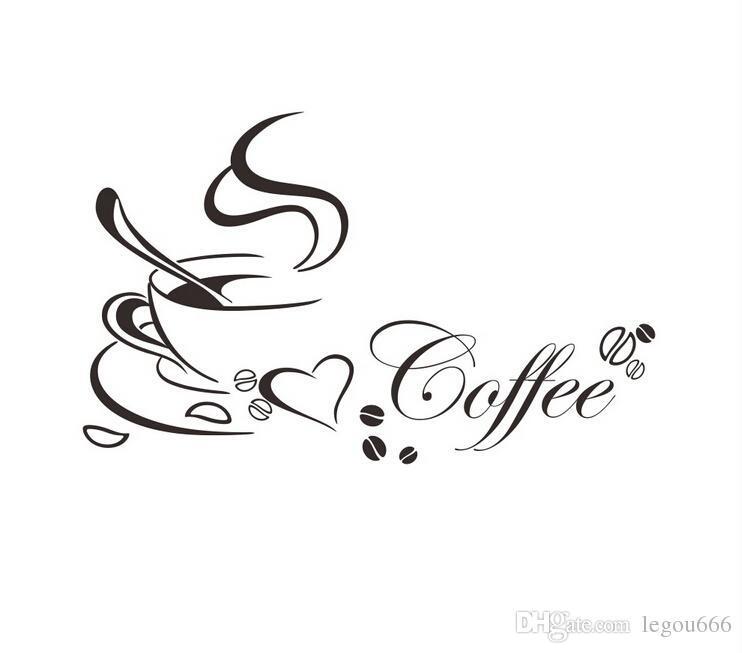 Чашка кофе с сердцем Винил Цитата ресторана кухня съемные настенные наклейки DIY дома декор настенные искусство росписи падение доставки Jia214