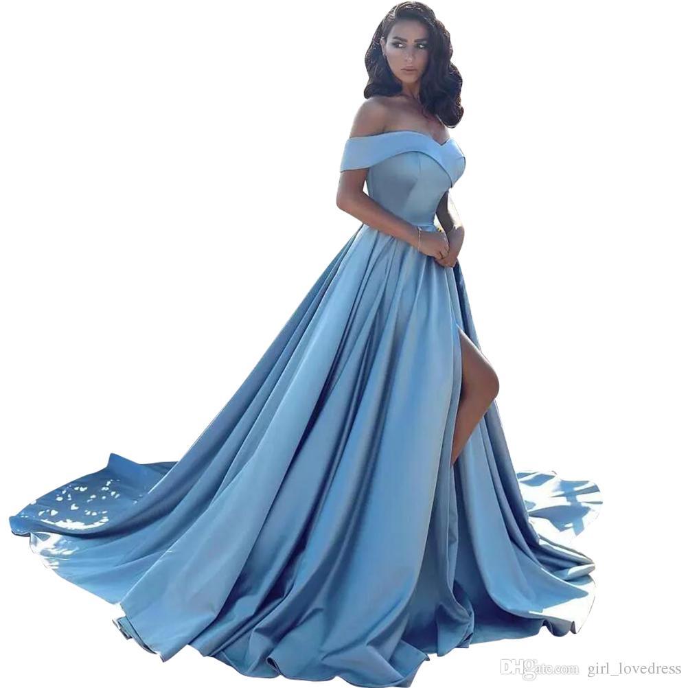Seksi Kadın Cepler ile Kolsuz Denizkızı Saten V-Yaka Uzun Abiye Artı Robe De Soiree Kat Uzunluk Balo Elbise Vestido De Festa