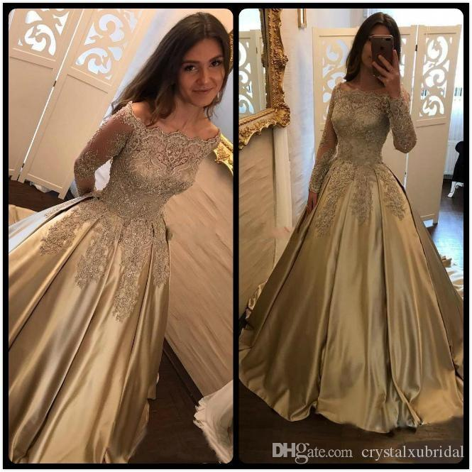 2018 Arabic New Gold Lace Appliques Beaded Prom Dresses Long Sleeves Off  Shoulder Satin Plus Size Pageant Party Dress Formal Evening Gowns Shop Prom  Dresses ... 972916891296