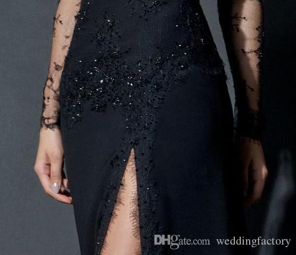 Vestidos de noche árabes de encaje negro Vestidos Vaina Escote redondo Manga larga Ilusión Cuentas Gran vestido formal dividido