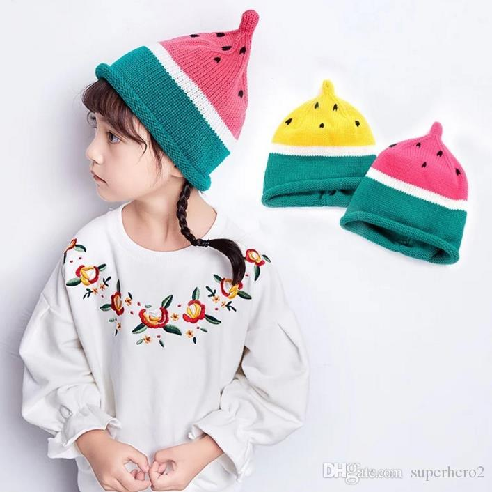 Baby Toddler Knitted Crochet Watermelon Hat Boy Girl kids Winter Warm soft Knit Cap Christmas presents 1Y- 10Y
