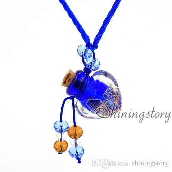 heart glitter luminous essential oil jewelry wholesale diffuser jewelry diffuser necklace diy perfume bottle necklace Perfume bottle