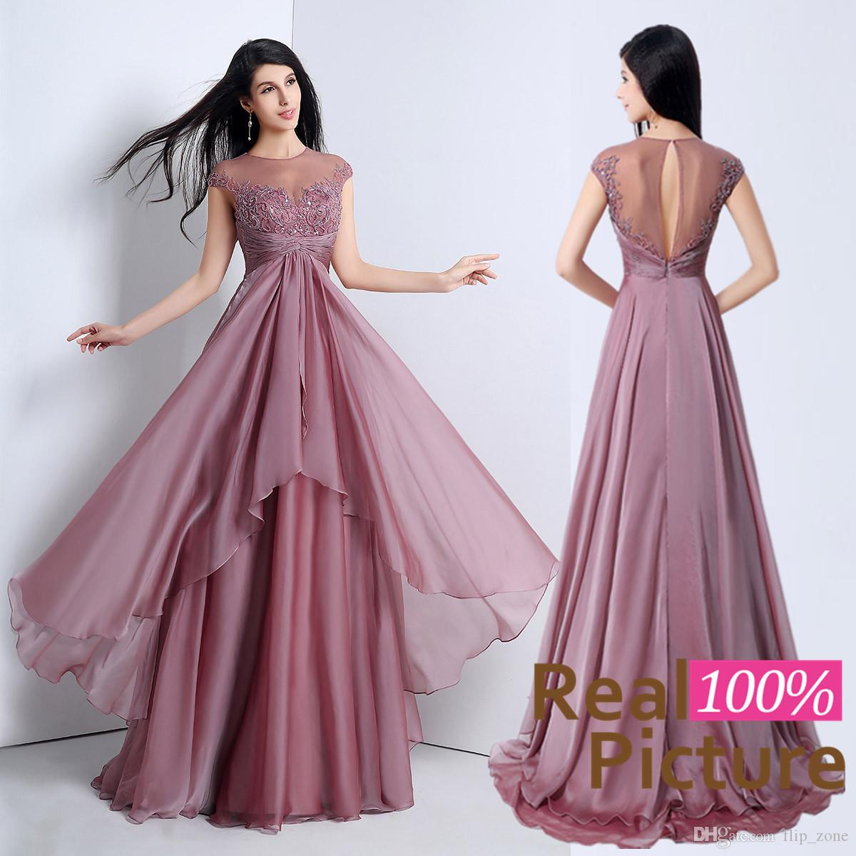 100% Real Image Mauve 2015 A Line Party Dresses With Sheer Jewel ...