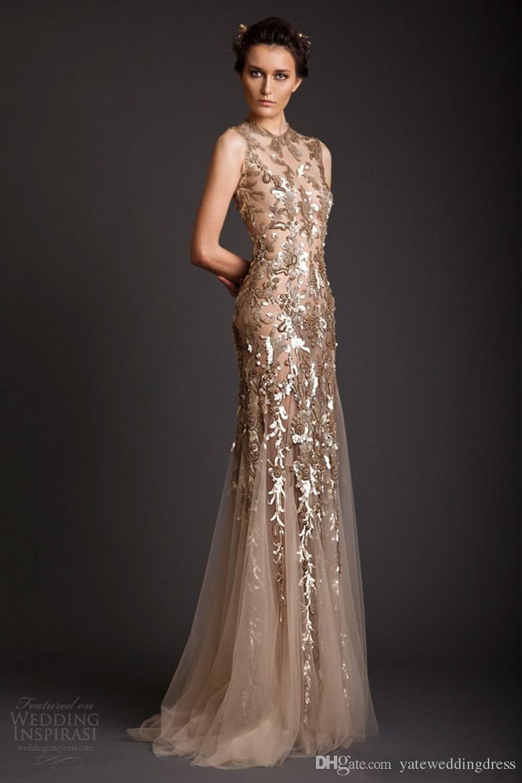 Krikor Jabotian Suknie wieczorowe Klasyczny Złoty Syrenka Kształt Tulle Sheer See przez Aplikacje Prom Dress Emboridery Długa Formalna Dubai Dress