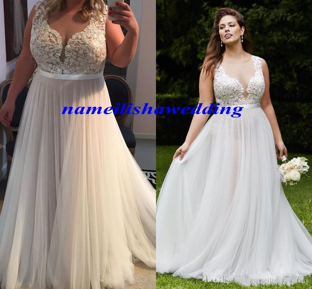 Plus Size Lace Wedding Dresses 2016 Sexy Sheer Bodice