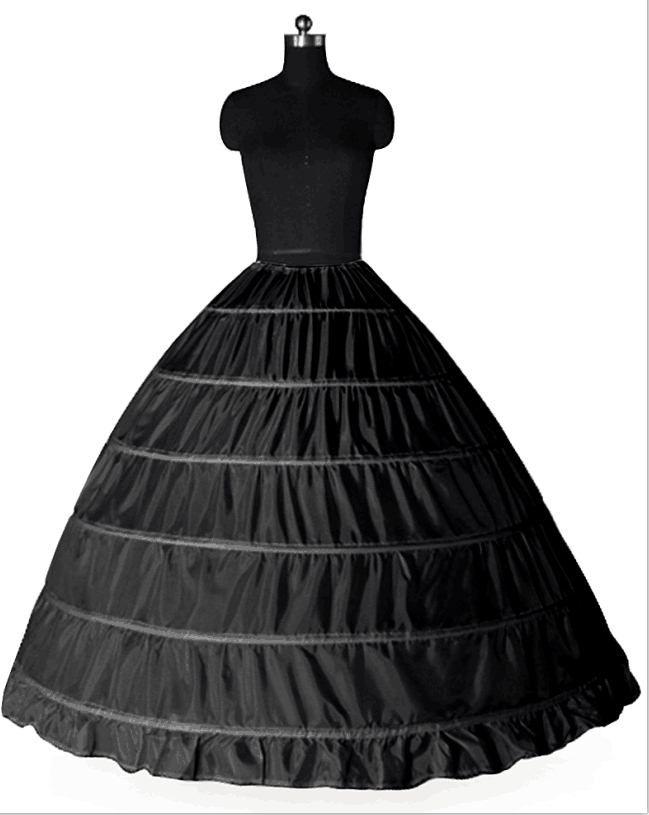 Süper Ucuz Balo 6 Çemberler Petticoat Düğün Kayma Crinoline Gelin DesenlerKirt Quinceanera Elbise için Kayma 6 Hoop Etek Crinoline Katlar