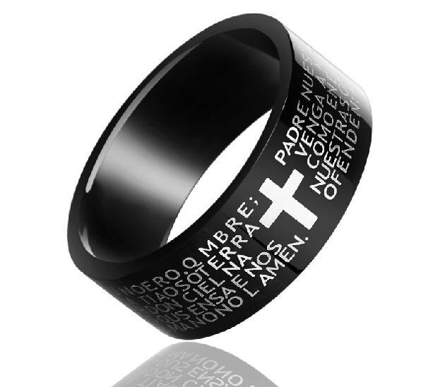Benedizione! testo bibbia che ristabilisce i sensi antichi Anello d'acciaio di titanio degli uomini neri dell'incrocio Signore degli anelli Regalo di compleanno del boyfriend