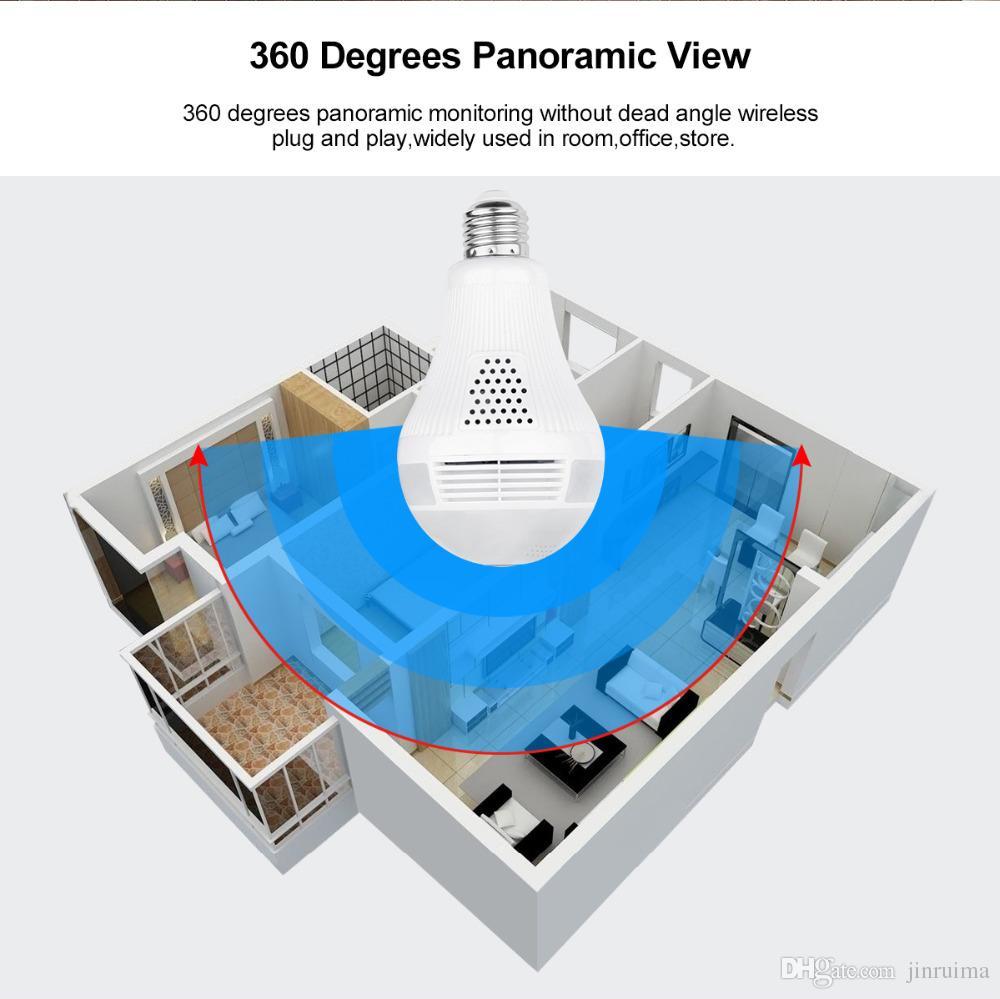 360 degree VR Audio 128GB slot Wireless IP Camera Bulb Wi-fi FishEye Home Security WiFi Camera security3.0MP
