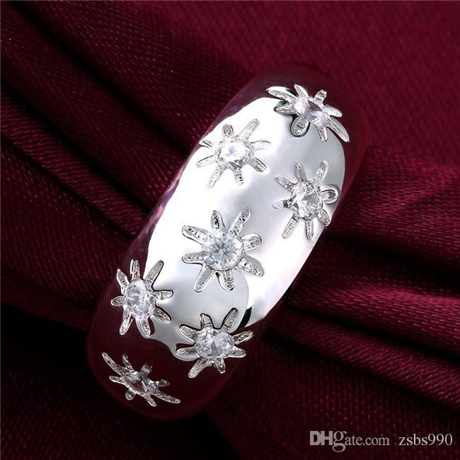 Piękny Design 925 Sterling Silver Swiss CZ Diament Kwiat Ring Moda Biżuteria Śliczne Boże Narodzenie Prezent Darmowa Wysyłka