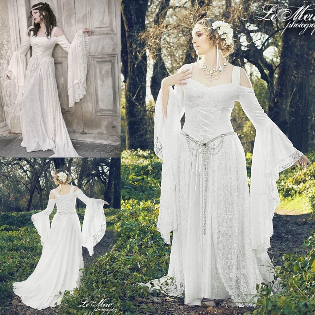 Discount White Lace Long Sleeve Victorian Gothic Wedding