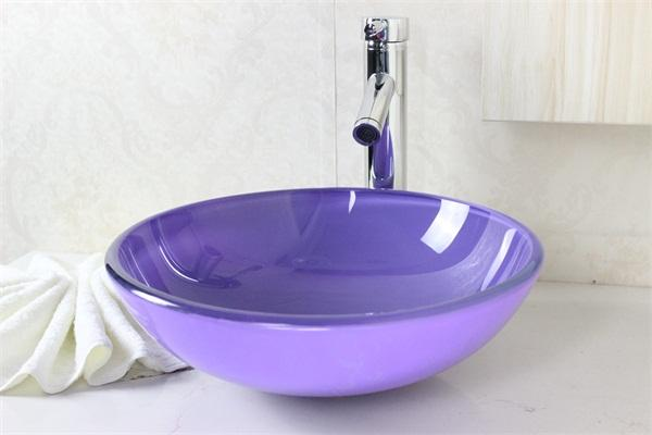 Lavender Purple Round Tempered Glass Vessel Sink With Chrome Faucet Set  N 536