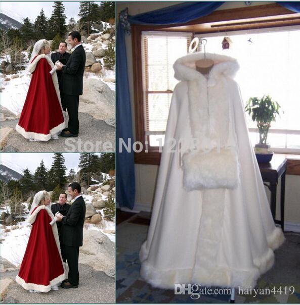 2020 Romantic Real Image Hooded Bridal Cape Ivory White Long Wedding Cloaks Faux Fur For Winter Wedding Bridal Wraps Bridal Cloak Plus Size