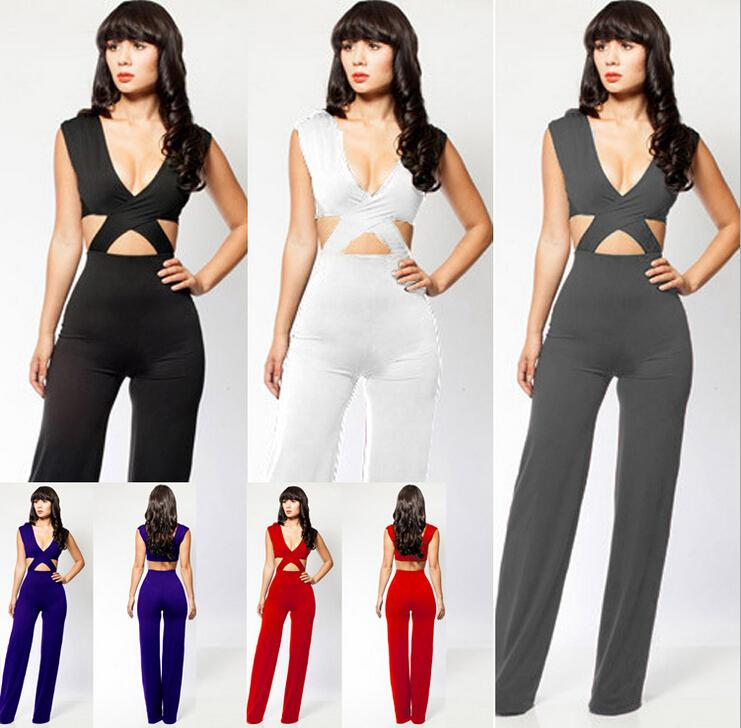 d767e34f59c Hot Sale Fashion Lady Women  s Sexy Suits Jumpsuits Irregular pants Evening  Dress Jumpsuit For Club Wear Nightclub party white black blue red