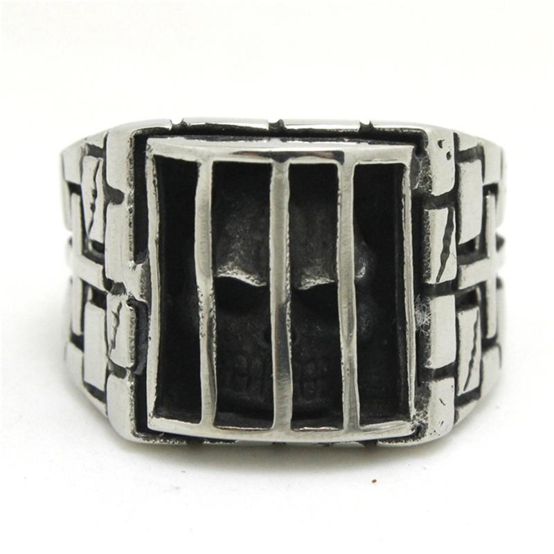 2 SZTUK Szybka Wysyłka Ghost Czaszka w Prison Pierścień 316L Ze Stali Nierdzewnej Biżuteria Fajny Biker Niesamowity Sprawiedliwości Czaszka Ring